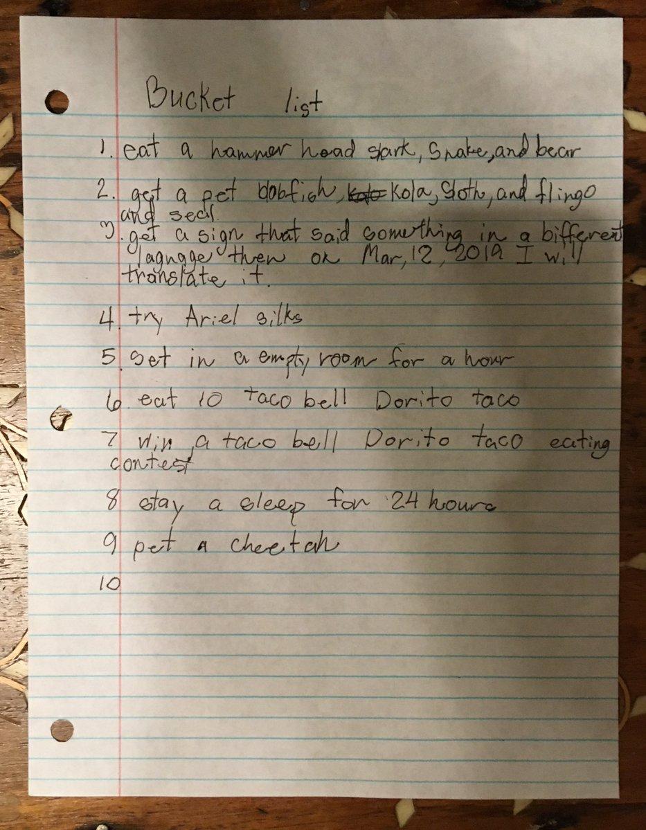 Little Girl's Bucket List