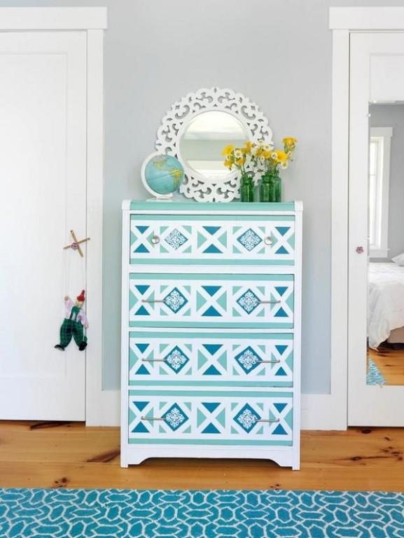 Blue-geometric-wallpaper-dresser-DIY