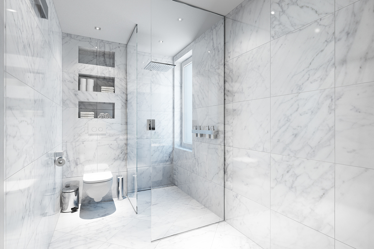 Best way to clean bathroom walls - Apartment Astonishing White Marble Bathroom With Glass Wall