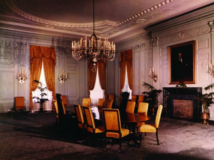 In The Earliest Years Of White House State Dining Room Was Used By Thomas Jefferson As A Private Office With Dual Fireplaces